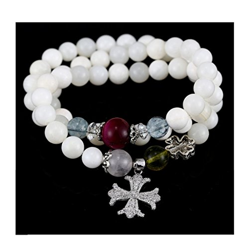 Natural 9mm Matte White Beads,Gemstone Crystal Agate Onyx Stone inlaying Cubic Zirconia Necklace Bracelet ()