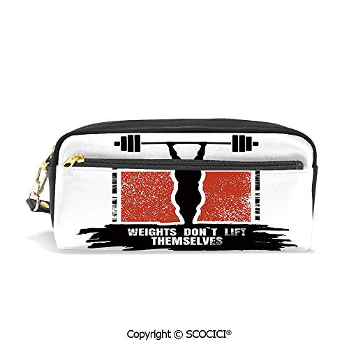 Printed Pencil Case Large Capacity Pen Bag Makeup Bag Bodybuilder and Huge Barbell Silhouettes Icon of Posing Athlete Weights Lift Decorative for School Office Work College Travel
