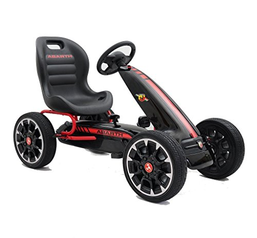 Abarth Licensed Pedal Go Kart With EVA Wheels & Clutch Gear Black by Rideontoys4u