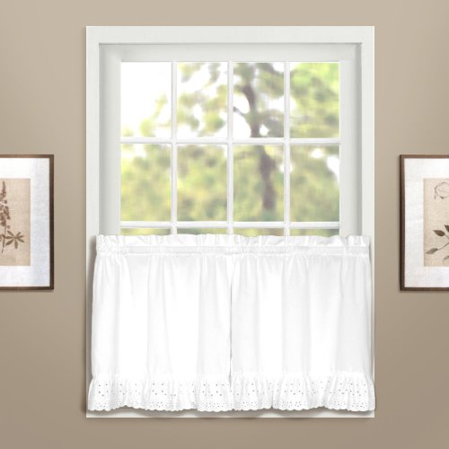 White Curtains Eyelet - American Curtain and Home Deanna Tier, 60-Inch by 24-Inch, White, Set of 2