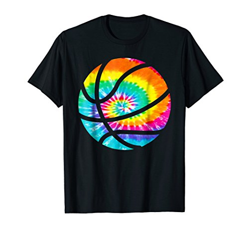 Basketball Tie Dye Shirt - Rainbow Trippy Hippie Tee Shirt]()