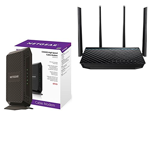 NETGEAR CM600 (24x8) DOCSIS 3.0 Cable Modem and ASUS RT-ACRH17 Concurrent Dual Band AC1700 Wi-Fi Wireless Router