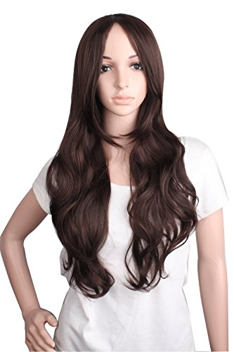 Dark Brown Wig - MapofBeauty Charming and Sexy Women's Long Curly Wig Wave Wig (Dark Brown)