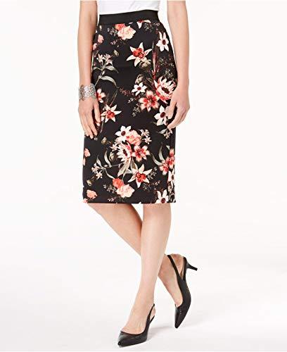 Alfani Printed Scuba Skirt (Deep Black Candy Tropic, L)