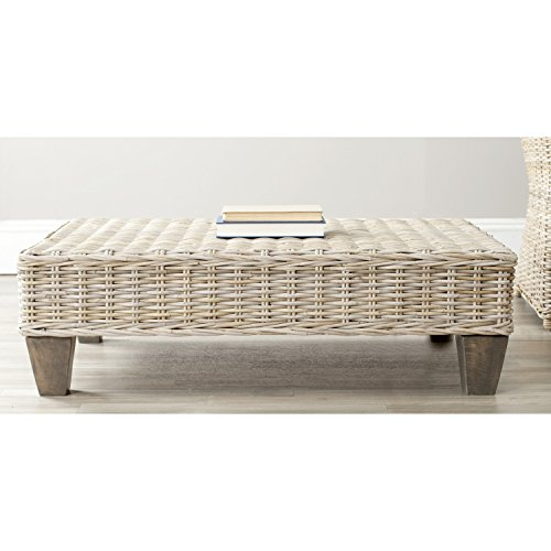 Safavieh Home Collection Leary Wicker Bench, Washed Natural (Ottoman Natural Wood Upholstered)