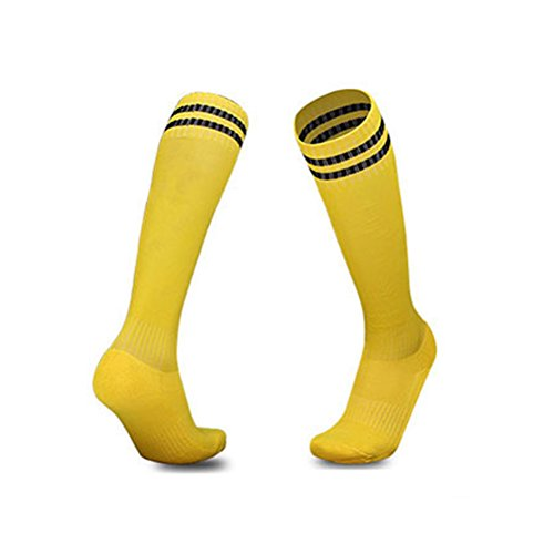 Luwint Youth Children Cotton Socks - Extra Cushion Thick Long Soccer Socks (Yellow and Black) (Soccer Children Clothing For)