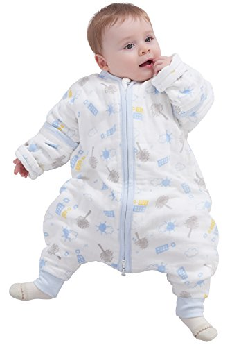 luyusbaby Muslin Sleeping Bag Baby Sleeping Bag with Feet Detachable Sleeve Wearable Blanket Large Blue