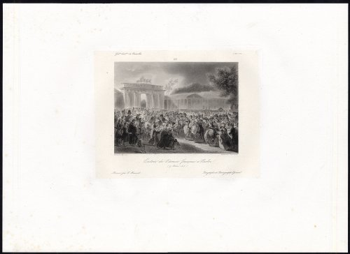 Antique Print-BERLIN-NAPOLEON-ARMY-BRANDENBURG Gate-Meynier-Gavard-1838