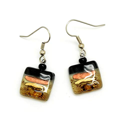 Small Square Fused Glass Earrings - Black with Copper & Gold Accents