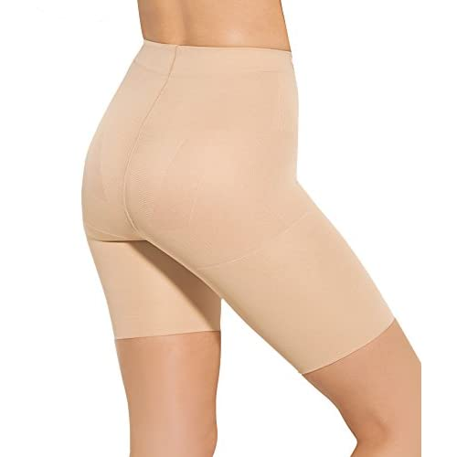 Panty Culotte Sport Mi Cuisse - Vu à la TV - Brûle Graisse - Tonification Musculaire Perte de Poids - Maintien - Exercice Prêt-a-Porter Sculptant Femme - Série Better-U - Beige 44/XL