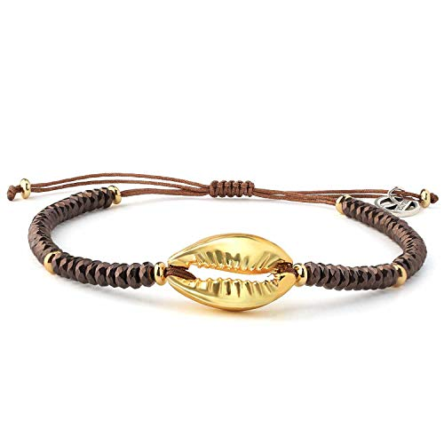 KELITCH Shell Strand Beaded Bracelet Handmade Trendy Natural Gold-Plated Crazy Agate Charm Wrap Cuff Bangle Beach Fashion Jewelry (Metal Brown) ()