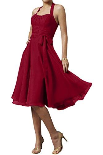 Gorgeous Modern Schleife Chiffon Weinrot Neckholder Cocktailkleid Bride Partykleid Knielang Abendkleid g1rwqgF