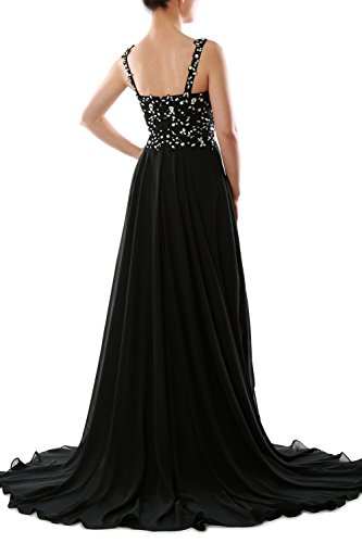 MACloth Straps V Neck Beaded Long Chiffon Prom Formal Dress Evening Gown Train Schwarz KPAQVcLu