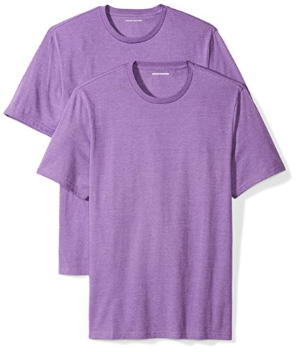 Amazon Essentials Men's 2-Pack Loose-Fit Short-Sleeve Crewneck T-Shirts, purple heather, X-Large