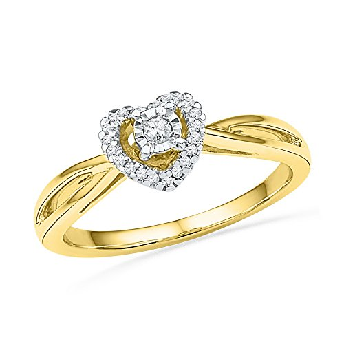 10kt Yellow Gold Womens Round Diamond Heart Love Solitaire Ring 1/8 Cttw (I2-I3 clarity; J-K (Gold Heart Diamond Solitaire Ring)