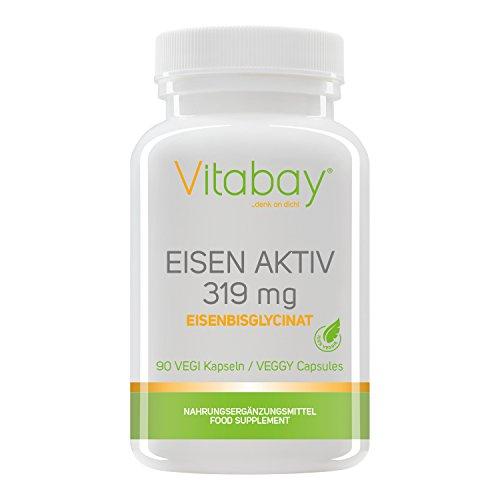 Eisen Aktiv aus Eisenbisglycinat 319 mg - 120 Vegi Kapseln - Extra hochdosiert & hoch verfügbar