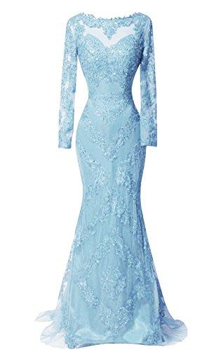 Dkbridal Manches Longues Robes De Soirée Sirène Bleu Longues Robes De Bal Cou Pure De Ciel Appliqué