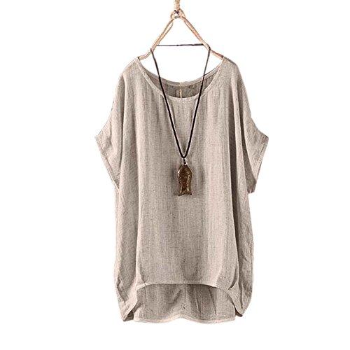 Zehui Camiseta Suelta de Lino Ocasionales del Cuello Redondo de Las Mujeres, Tops Flojos del Color sólido Respirable de la...