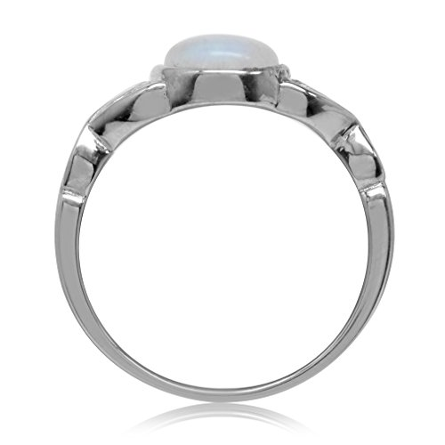 Silvershake 7mm Natural Moonstone 925 Sterling Silver Victorian Style Solitaire Ring Size 11.5