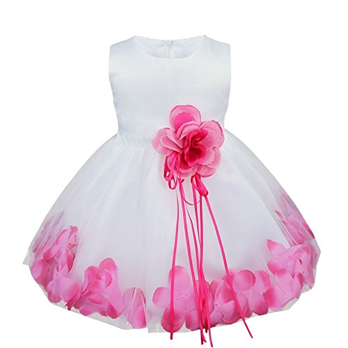 [iiniim Baby Girls Petals Tulle Wedding Pageant Easter Party Flower Girl Dress Hot Pink 12-18 Months] (Baby Easter Dresses)