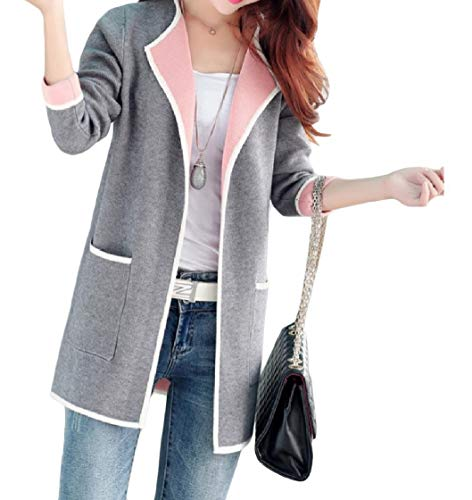 EnergyWomen Cardigan Turn Knit Down Grey Coat Leisure Collar Sleeve Long Pocket rS8Brwq