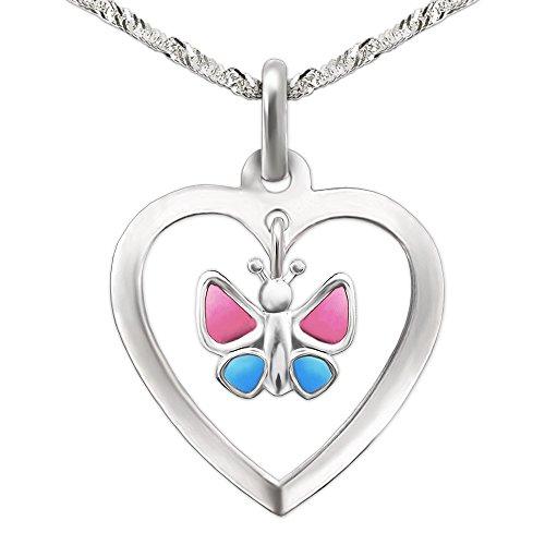 Clever Juego de joyas plateado colgante de corazón 15mm con Einhänger mariposa rosa azul y cadena singapur 40cm plata de ley 925