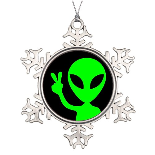 Personalised Christmas Tree Decoration Peace Sign Alien Picture Snowflake Ornament