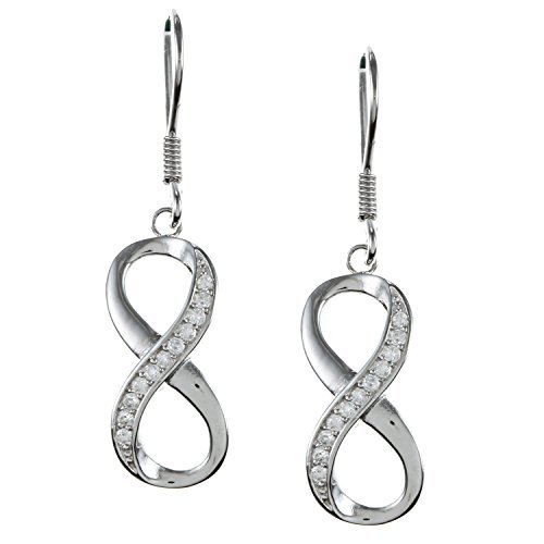 Sterling Silver Infinity Figure 8 White Topaz Earrings by Beaux Bijoux