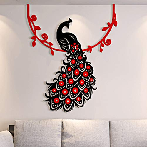 - qingyuge Wall Sticker 3D Wall Sticker Beautiful Phoenix Peacock Living Room Decoration Deco Mural 60Cm50Cm-Black and Red