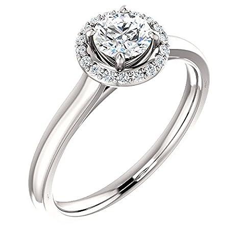 Round Halo Diamond Engagement Ring 14k White Gold 5/8ct. TDW - Cut Halo Petite Diamond