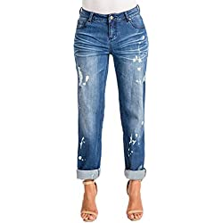 Poetic Justice Women's Curvy Fit Blue Denim Bleach Spots Rolled Cuff Boyfriend Jeans Size 30 x 32Length