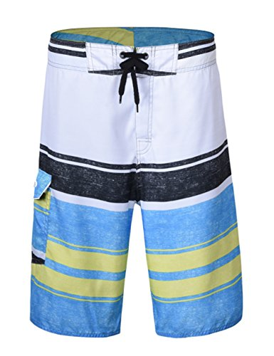 Nonwe Men's Beach Shorts Stripe Straight Lightweight Half Pants with Lining White&Blue 28