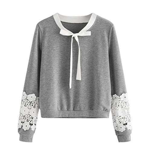 - DEATU Ladies Tops, Womens Lace Long Sleeve Cute Bow Knot Blouse Sweatshirt Pullover Casual Shirt(Gray ,XL)