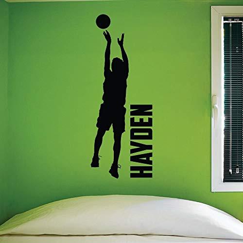 - Custom Name Boys Basketball Jumper -0268- Personalized Boys Basketball Wall Decal - Basketball Theme Wall Decal - Hoops - Jumper