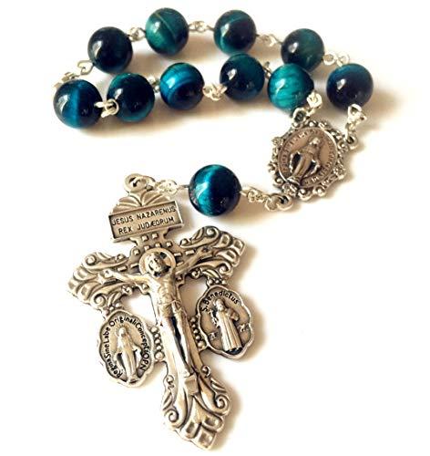elegantmedical Handmade Peacock Bule Tiger Eye Jade Beads Catholic Prayer one Decade Rosary Bracelet Pardon Crucifix Cross Gift