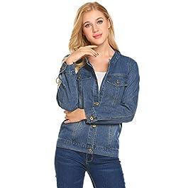 Concep Women's Vintage Denim Jacket Long Sleeve Boyfriend Jean Coat with Pockets