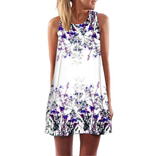 Womens Dress Summer Casual T Shirt Dresses Boho Sleeveless Floral Printed Beach Cover up Casual T-Shirt Short Dress