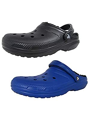 Crocs Men's and Women's Classic Fuzz Lined Clog Shoe   Great Indoor or Outdoor Warm and Fuzzy Slipper Option