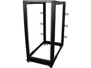 StarTech.com 25U Adjustable Depth Open Frame 4 Post Server Rack Cabinet with Casters/Levelers and Cable Management Hooks 4POSTRACK25U Black