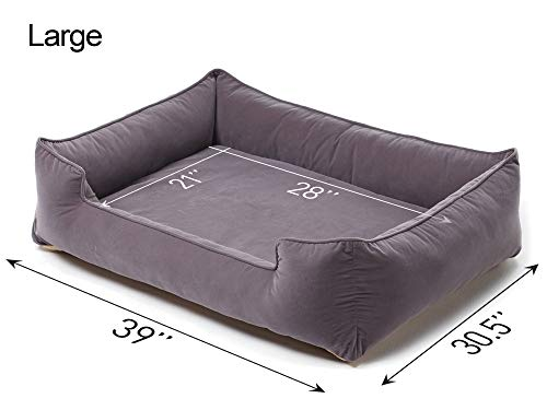 Petsbao Premium Dog Bed with 4'' Solid Memory Foam   Waterproof Liner   Cover Washable & Removable (Large 39 x 30.5 x 9.8 inch, Gray) by Petsbao (Image #4)