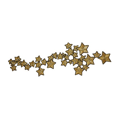 ID #5138 Gold Star Sky Strip Space Pattern Embroidered Iron On Applique Patch (Applique Star)