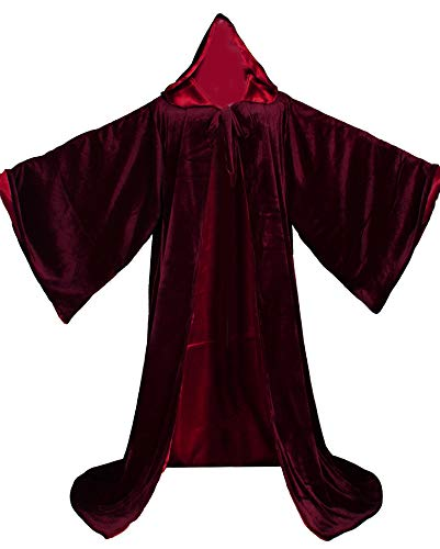 LuckyMjmy Velvet Wizard Robe with Satin Lined Hood and Sleeves (Wine Red)