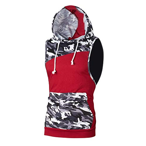 iHPH7 Tank Tops Men Workout Hooded Tank Tops Bodybuilding Muscle Cut Off T Shirt Sleeveless Gym Hoodies Men Camouflage Patchwork Sleeveless T Shirt Hooded Blouse L Red]()