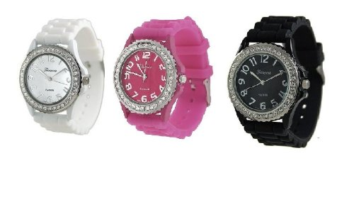 White Black Fuchsia Pink 3 Pack Geneva Crystal Rhinestone Large Face Watch with Silicone Jelly Link Band