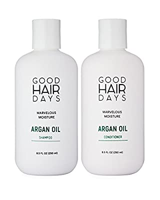 Moroccan Argan Oil Moisturizing Shampoo & Conditioner 8.5 oz: Safe for Colored Hair Extensions & Keratin Treated Hair ~Sulfate Free & Paraben Free w/ Heat Styling & UV Protection