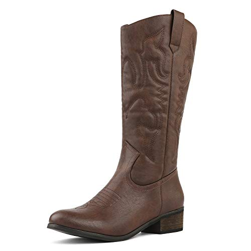 DREAM PAIRS Women's TEXS_H Brown Mid Calf Western Bootie Winter Snow Boots Size 6 B(M) US