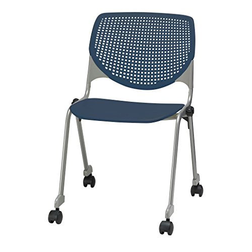 (KFI Seating Kool Series Polypropylene Stack Chair with Perforated Back and Casters, Navy Finish)
