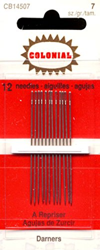 Darners Hand Needles (Colonial Needle 12 Count John James Cotton Darners Needles, Size 7)