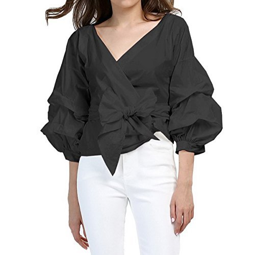 AOMEI Black Blouse for Women Casual Spring Summer with Waist Belt Puff Sleeve Size M