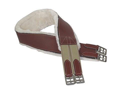 Paris Tack Fleece Lined Leather English Horse Girth with D Ring Keeper 44